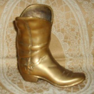 Brass Cowboy Boot Decor Vase Paper Weight